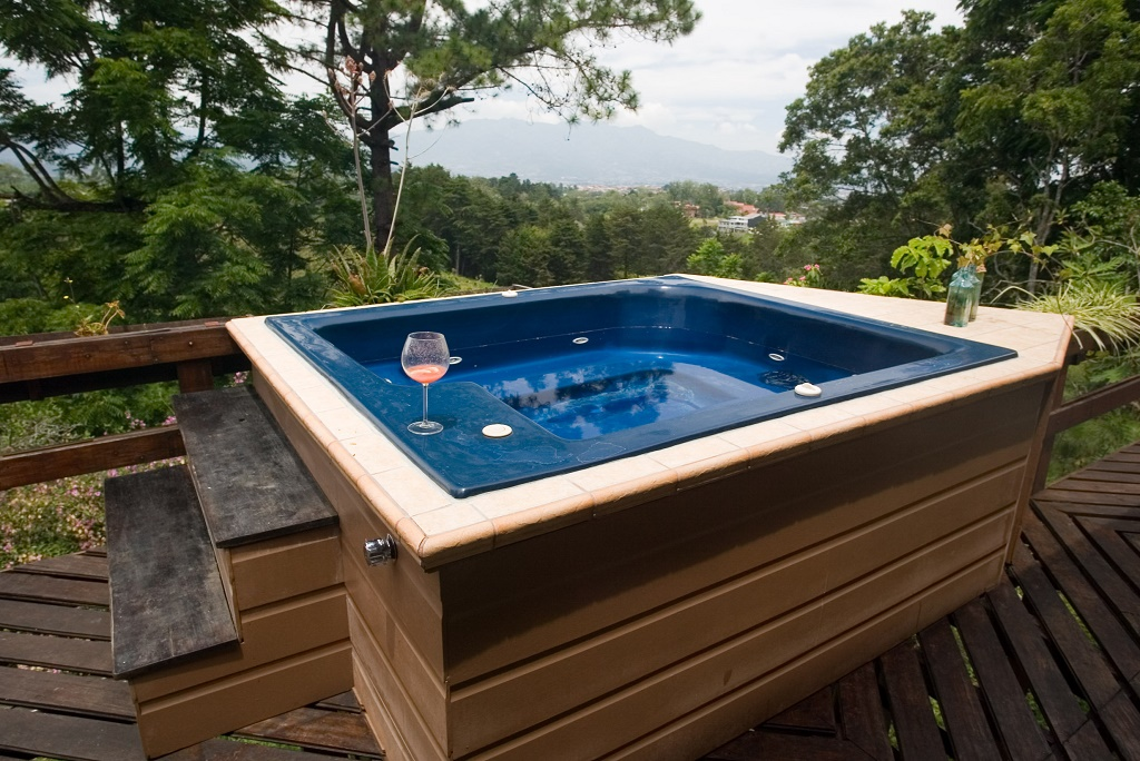 outside hot tub