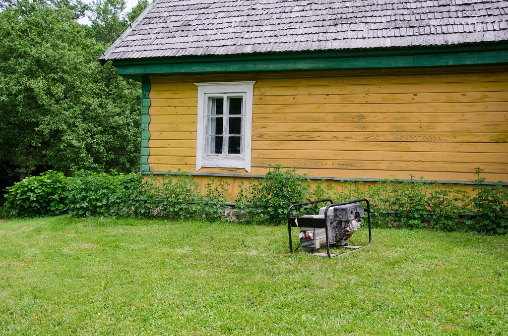 a generator outside of a house