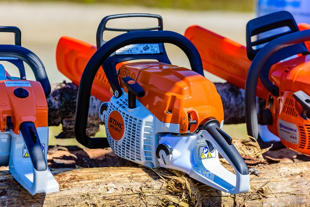 a stihl chainsaw in sunlight