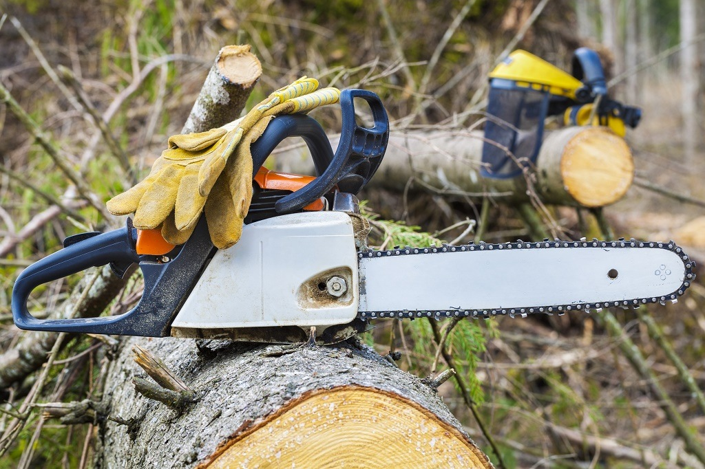 protective gloves on chainsaw