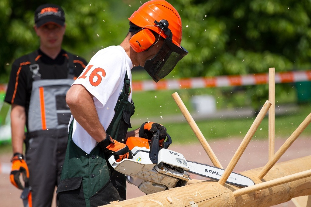 sawing with a stihl chainsaw