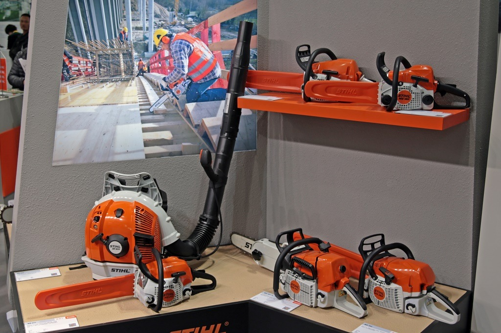 stihl chainsaws on shelf
