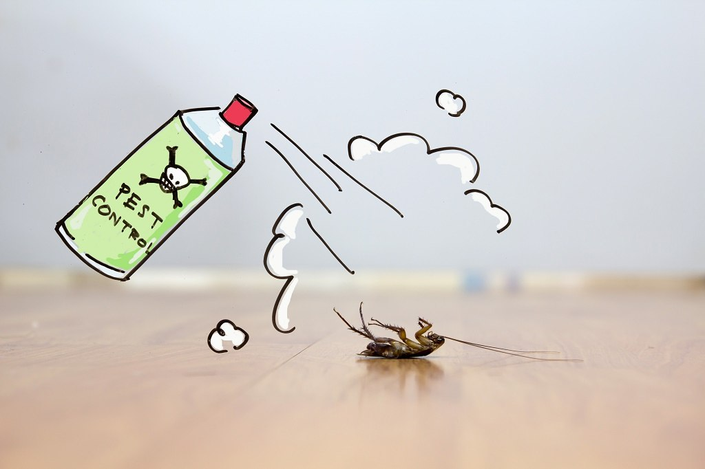 a cartoon roach spray