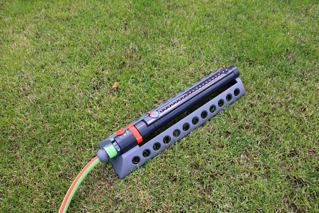 an Oscillating Sprinkler in the yard