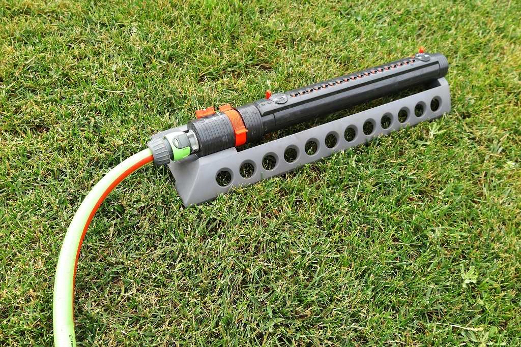 an Oscillating Sprinkler on grass