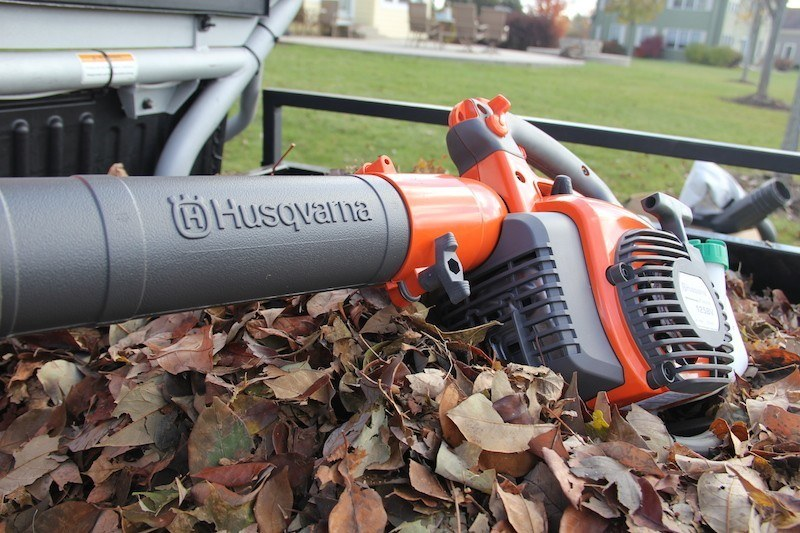 leaf blower on top of dried leaves