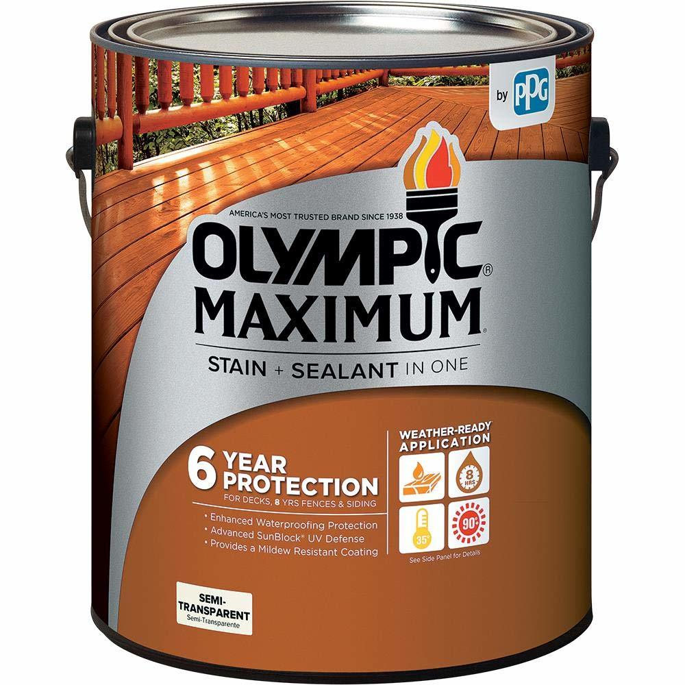 Olympic Stain 79551 Maximum Wood Stain and Sealer, 1 Gallon, Semi-Transparent Stain, Cedar