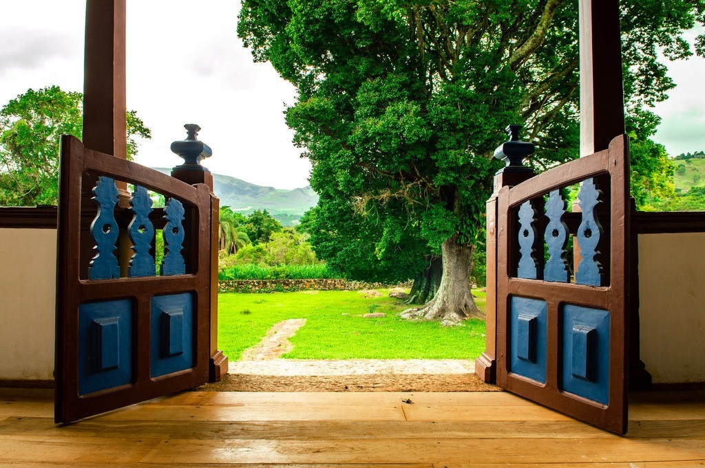 view of backyard through open wooden gates